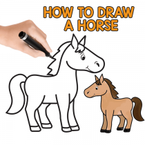 How to Draw a Horse Step by Step Tutorial for Kids (Cartooning)