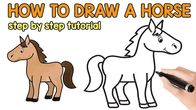 Get Cartoon Horse Riding Drawing For Kids Background