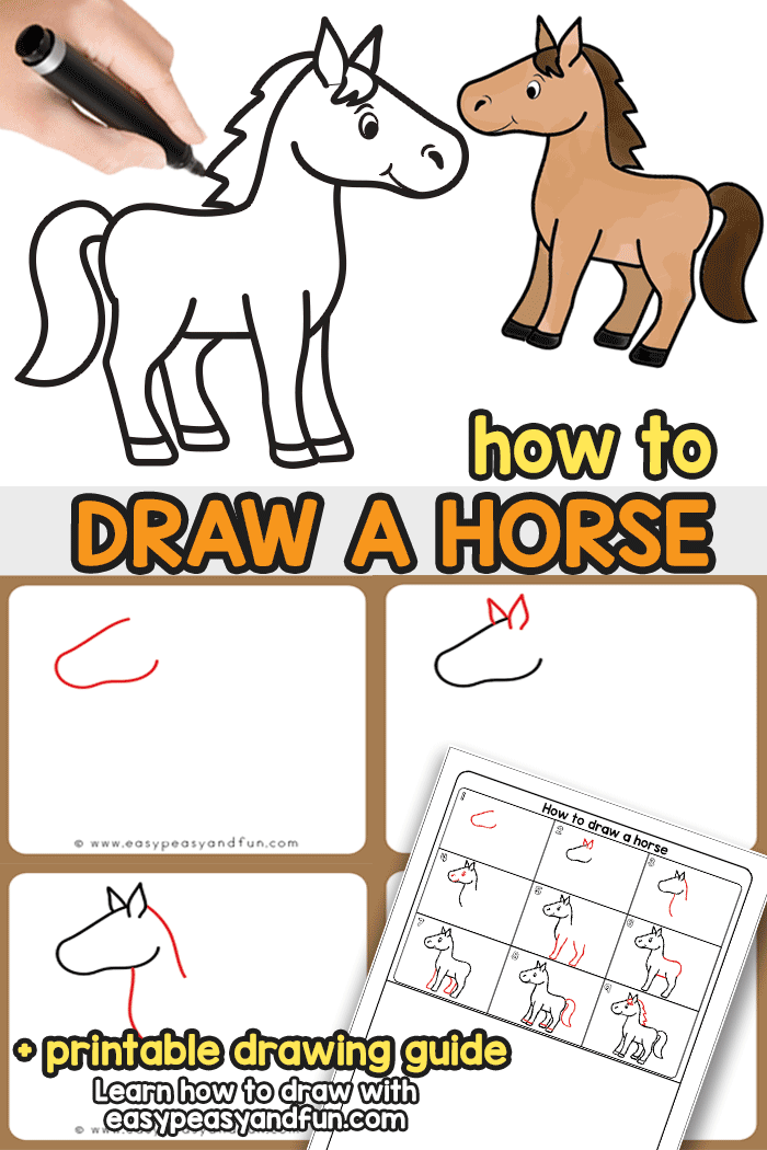 How to Draw a Horse - a step by step horse drawing tutorial for kids and beginners. Learn to draw a cartoon style horse in no time.