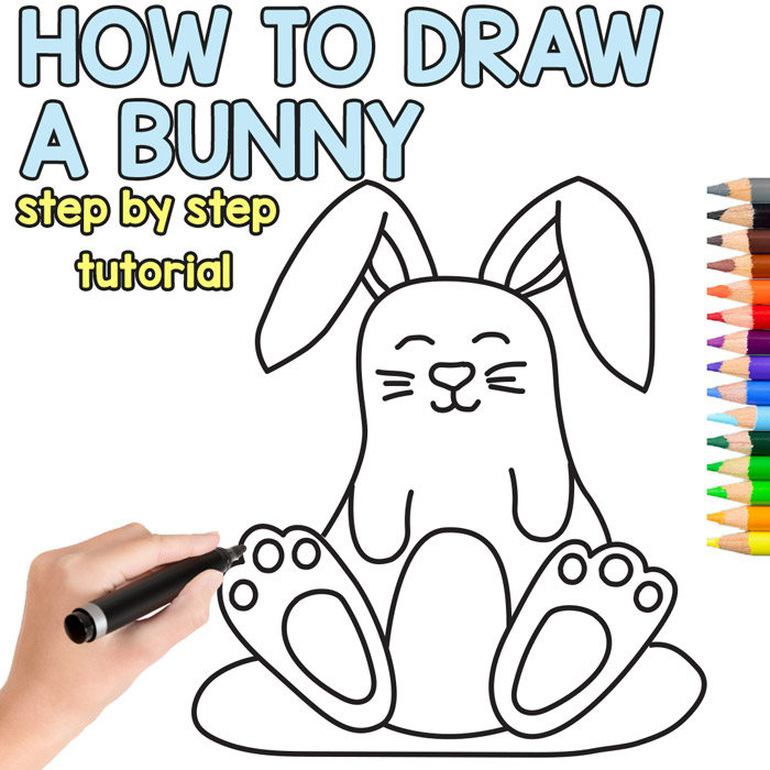 Learn how to draw a cute bunny (directed drawing)