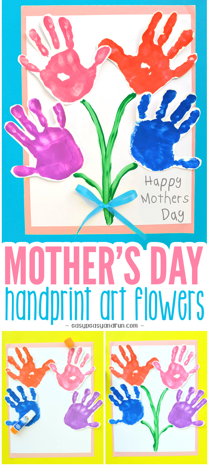 Mothers Day Handprint Art Flowers Craft for Kids