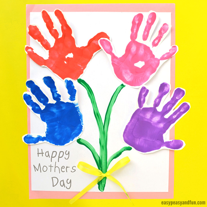Mothers Day Handprint Art Flowers Boquet