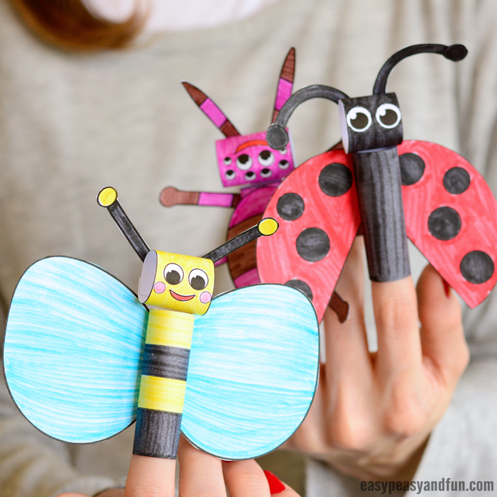 Printable Bugs Finger Puppets Craft for Kids