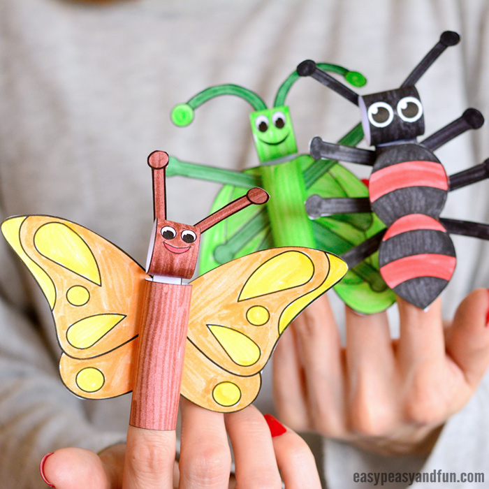 Printable Bugs Finger Puppets Craft