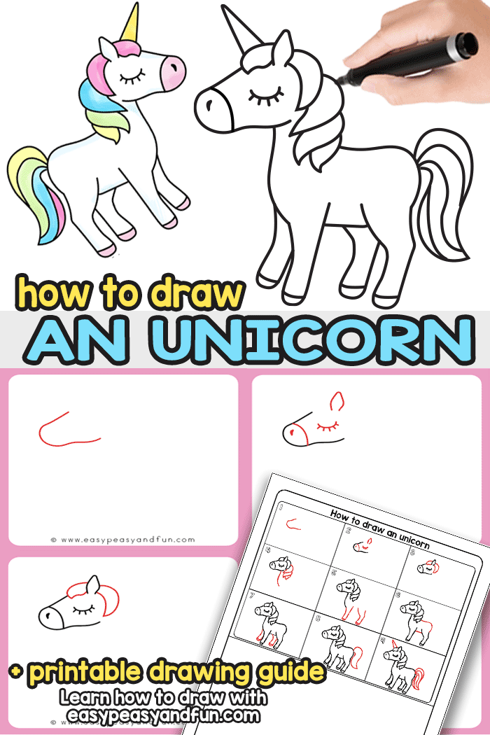 This easy how to draw an unicorn step by step tutorial will have you drawing unicorns in no time. Grab the directed drawing printable that makes unicorn drawing possible wherever you go. Cute and easy kids friendly instructions.