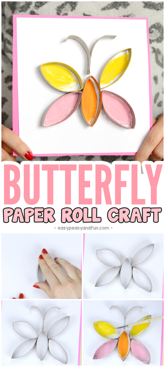 Butterfly Toilet Paper Roll Craft Idea for Kids #craftsforkids #activitiesforkids #butterflycrafts #toiletpaperrollcrafts