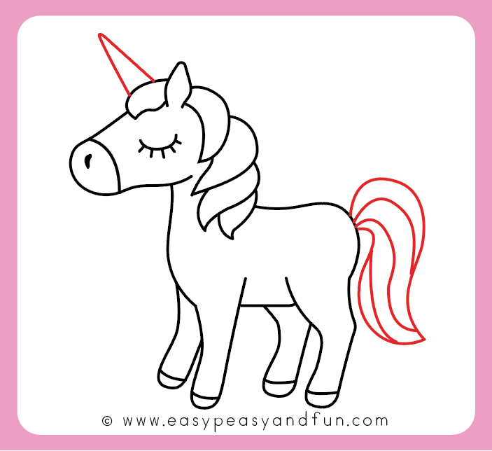 Turn the horse into an unicorn drawing