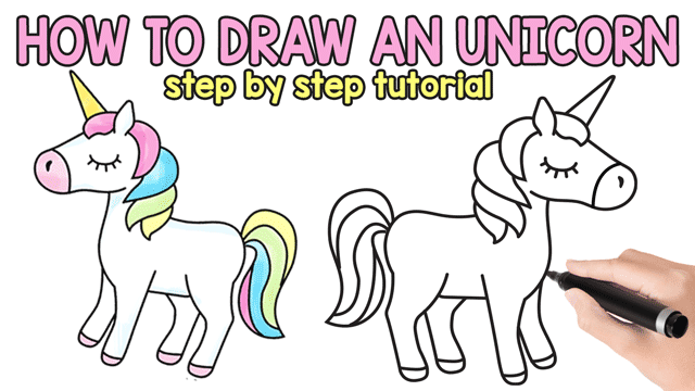 How to draw an unicorn easy and cute step by step drawing tutorial easy peasy and fun