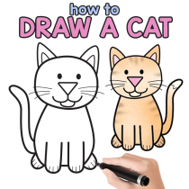 How to Draw a Cat – Step by Step Cat Drawing Instructions (Cute Cartoon Cat)
