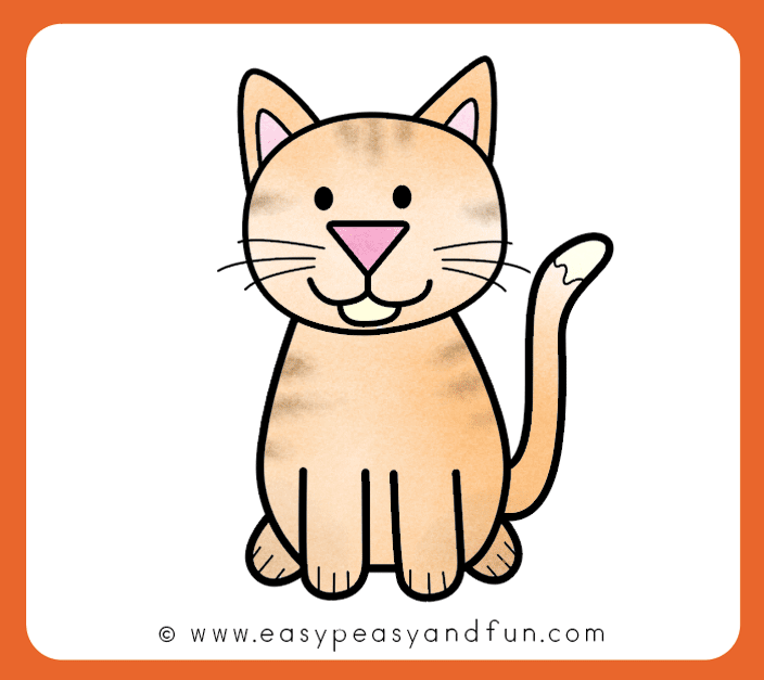 How To Draw A Cat Step By Step Cat Drawing Instructions Cute Cartoon Cat Easy Peasy And Fun