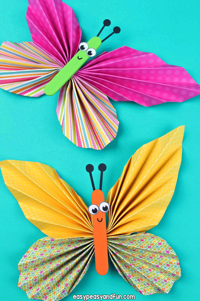 Learn how to make this colorful paper butterfly craft. Use scrap book paper with different patterns to make amazing little folded paper butterflies.