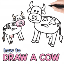 How to Draw a Cow – Step by Step Cow Drawing Instructions (Kids and Beginners)