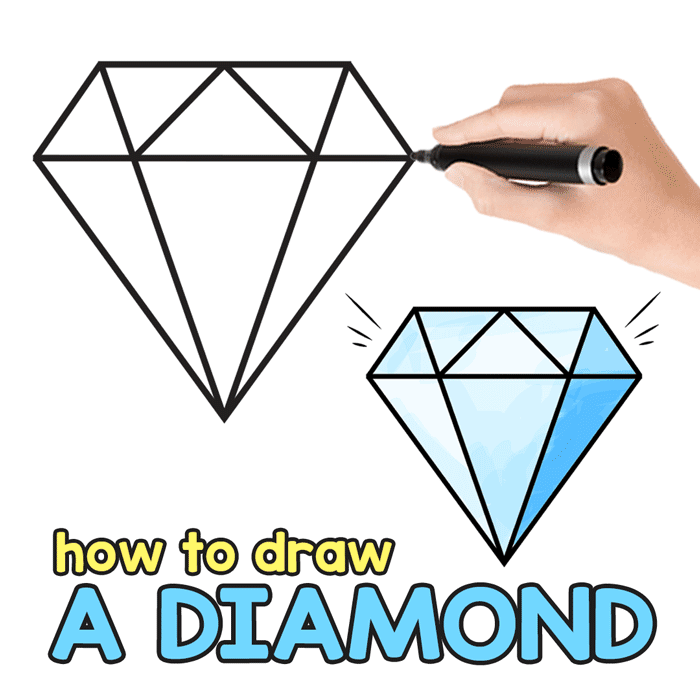 image relating to Diamond Printable called How towards Attract a Diamond - Action by way of Stage Diamond Drawing