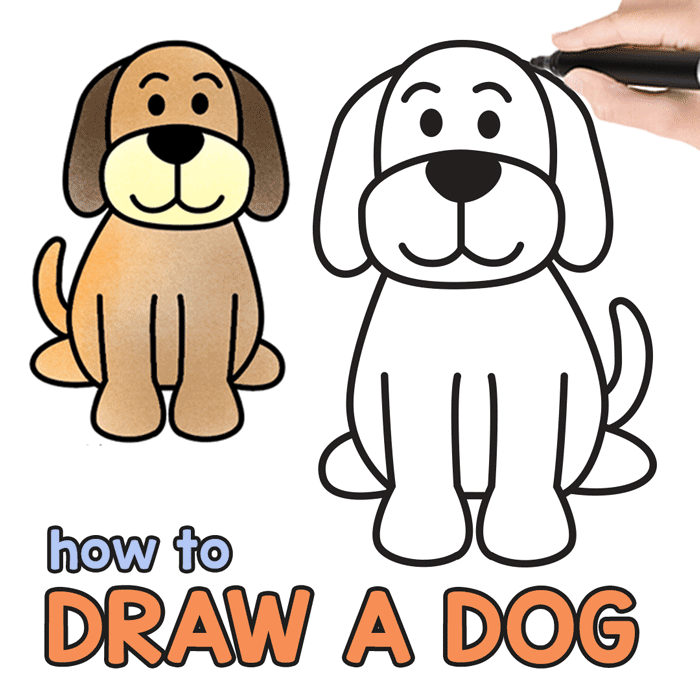 How to Draw a Dog - Step by Step Drawing Tutorial for a Cute Cartoon Dog