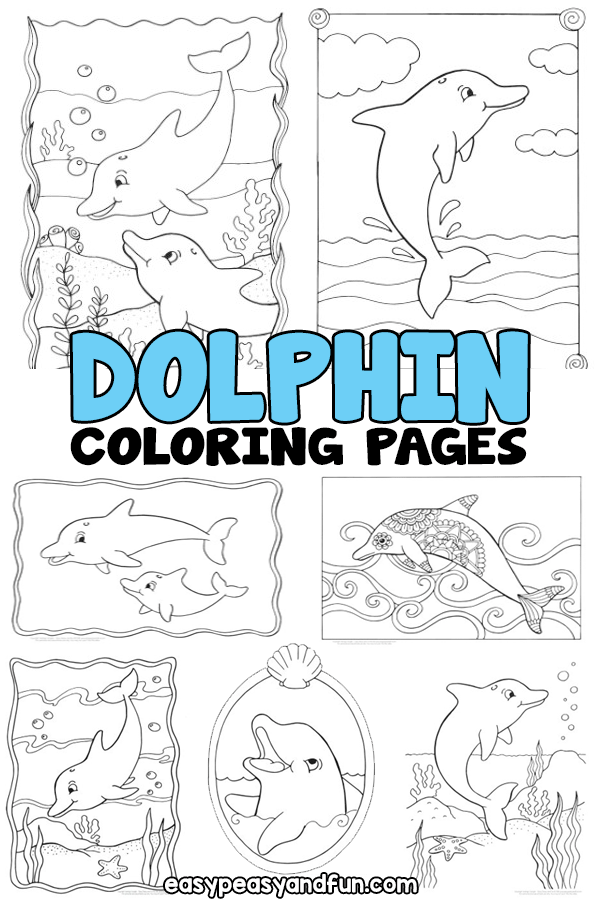 Printable Dolphin Coloring Pages for Kids - from simple ones for toddlers, preschoolers and kindergarten to more detailed one for older kids.