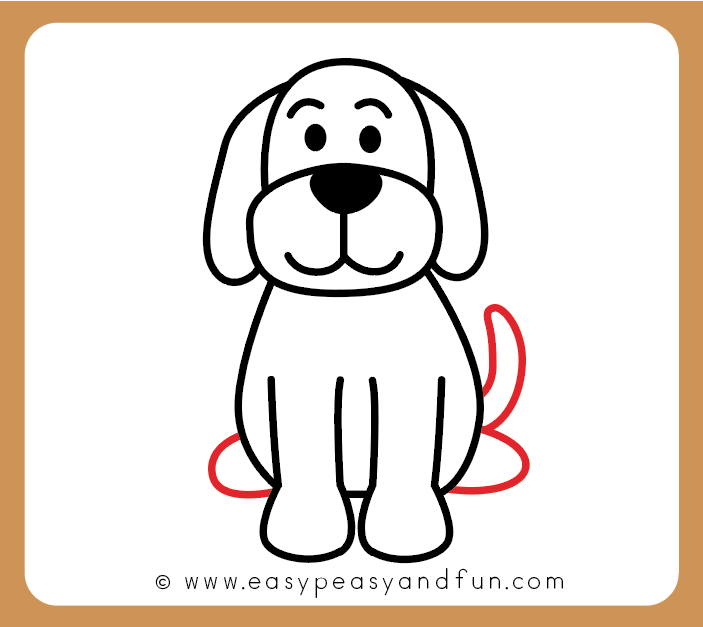 Draw the dog tail and hind legs