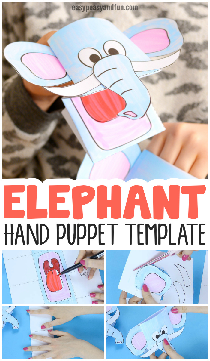 Elephant Puppet Printable Template Paper Craft for Kids