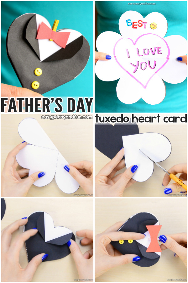 Father's Day Tuxedo Heart Card Craft Idea for Kids to Make