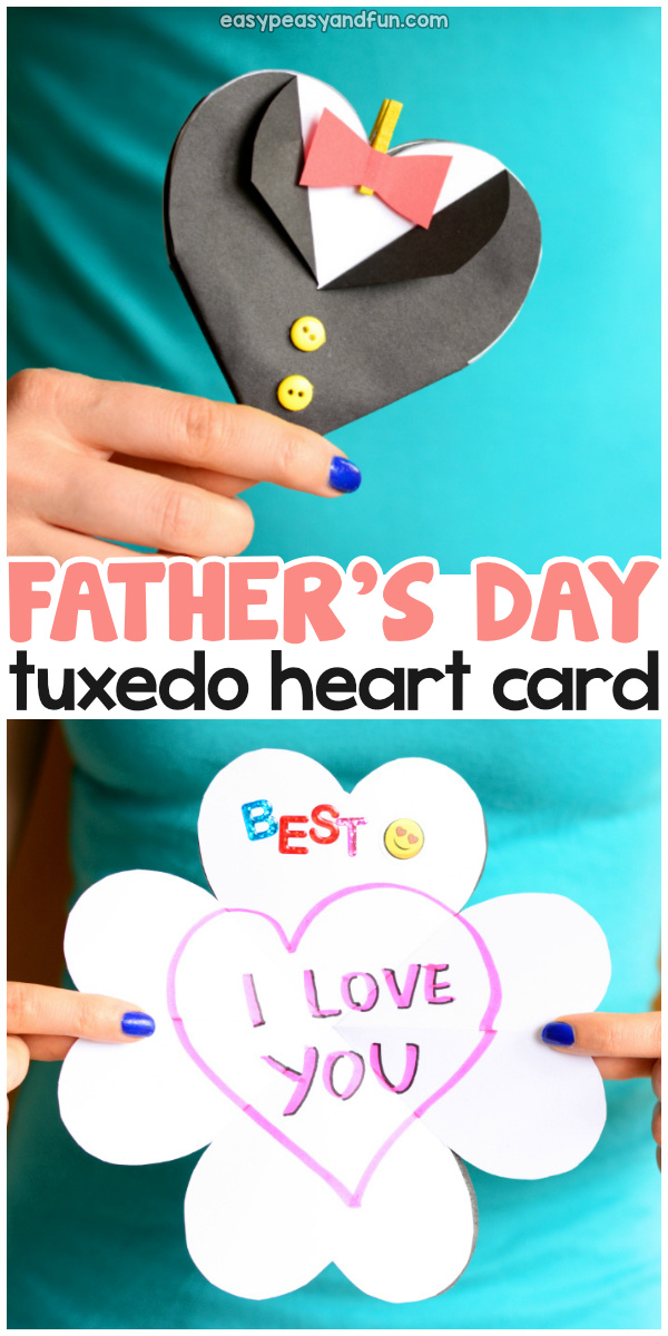 Father's Day Tuxedo Heart Card Idea for Kids