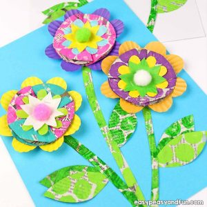 Newspaper Flowers Recycled Craft for Kids