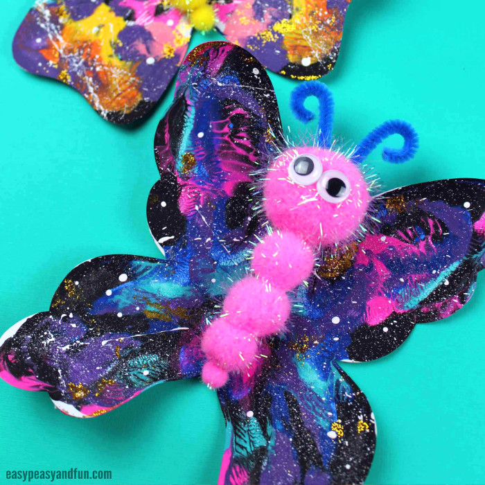 Galaxy Butterfly Pom Pom Craft Idea for Kids