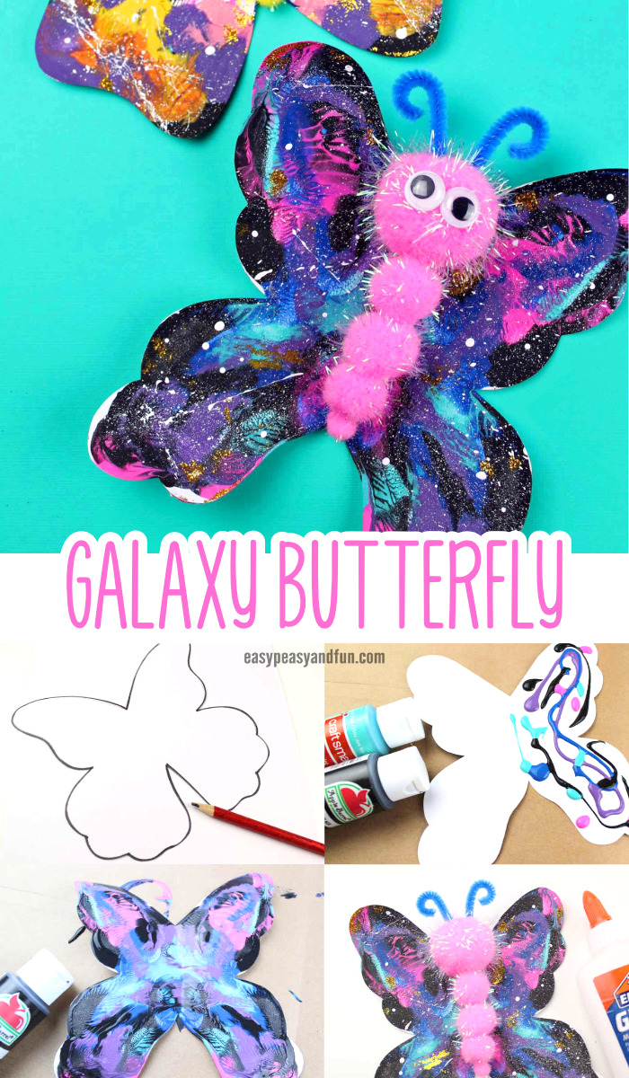 Galaxy Butterfly Pom Pom Craft - Easy Peasy and Fun
