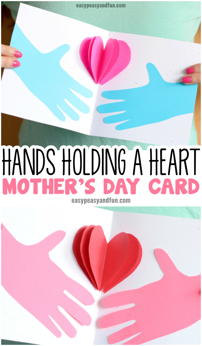 Hands Holding a Heart Mother's day Card Paper Craft for Kids