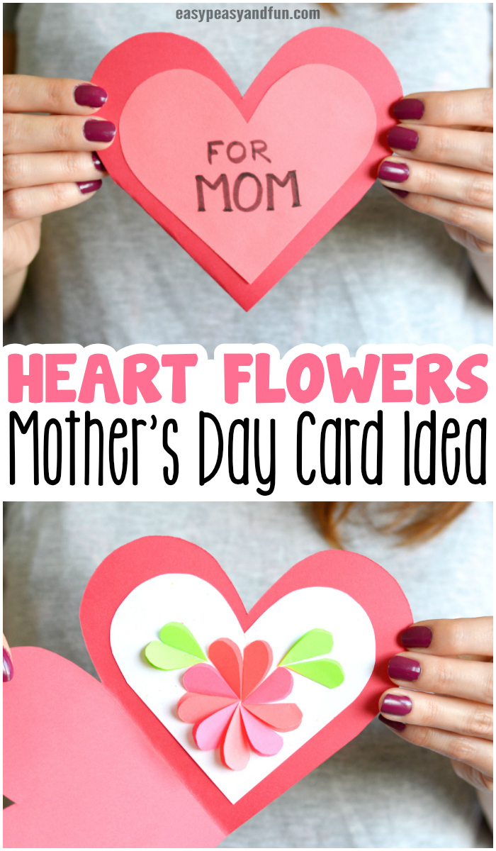 Heart Flowers Mothers Day Card Idea for Kids to Make.