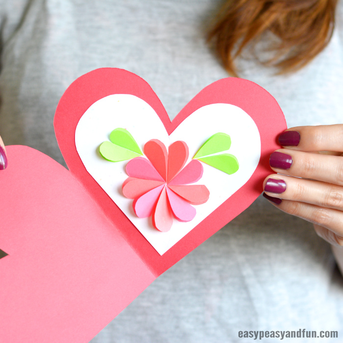 Heart Flowers Mothers Day Card Idea for Kids