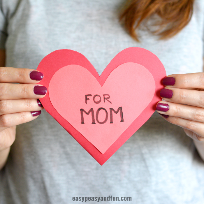 Heart Flowers Mothers Day Card Idea