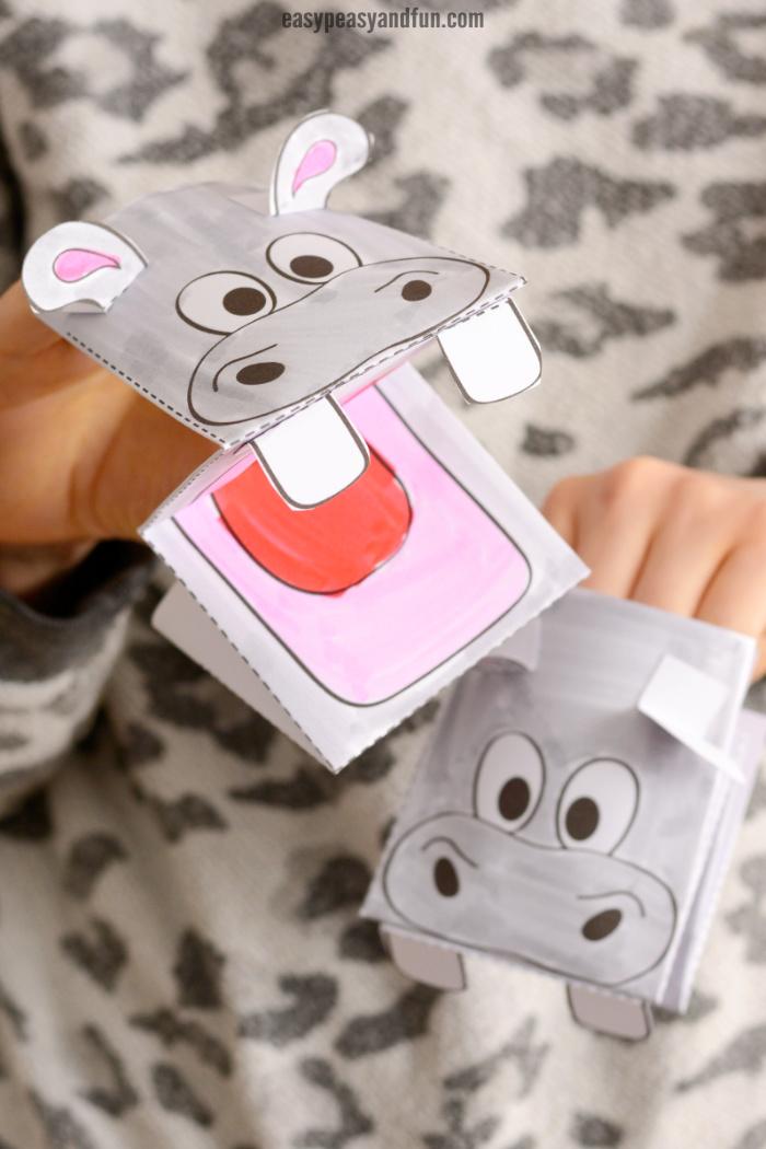 Hippopotamus Hand Puppet Printable Template