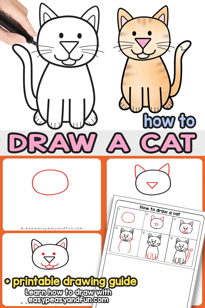 How to Draw a Cat Step by Step Tutorial. With these simple drawing instructions you will be finishing up your cute cartoon cat drawing in no time. Grab the cat directed drawing printable guide and draw anywhere you go. Perfect for classroom art lessons as it's suitable for kids as well as grown ups.
