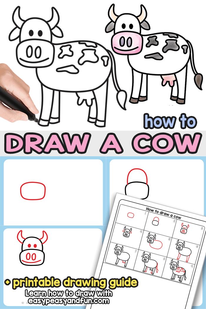 How to Draw a Cow Step by Step Drawing Tutorial. With this printable directed drawing guide you will learn how to draw a super easy cow in no time. Great both for kids and beginners.