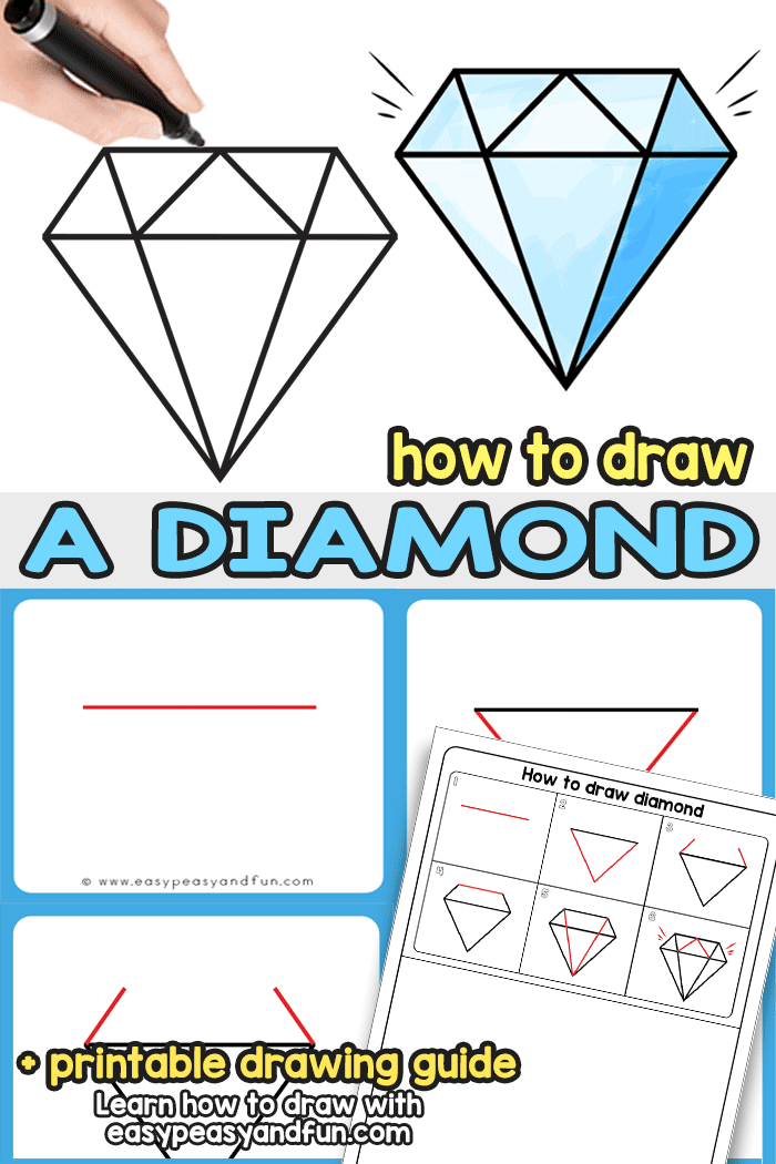 How to Draw a Diamond - Step by Step diamond drawing instructions. Learn how to draw a perfect diamond in no time with our super easy tutorial. Suitable for all ages - kids and grown ups alike.