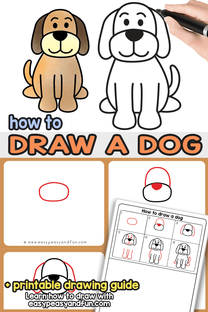 How to Draw a Dog - step by step dog drawing tutorial that will show you a super easy way to draw a dog. Suitable for kids and comes with a dog directed drawing printable.