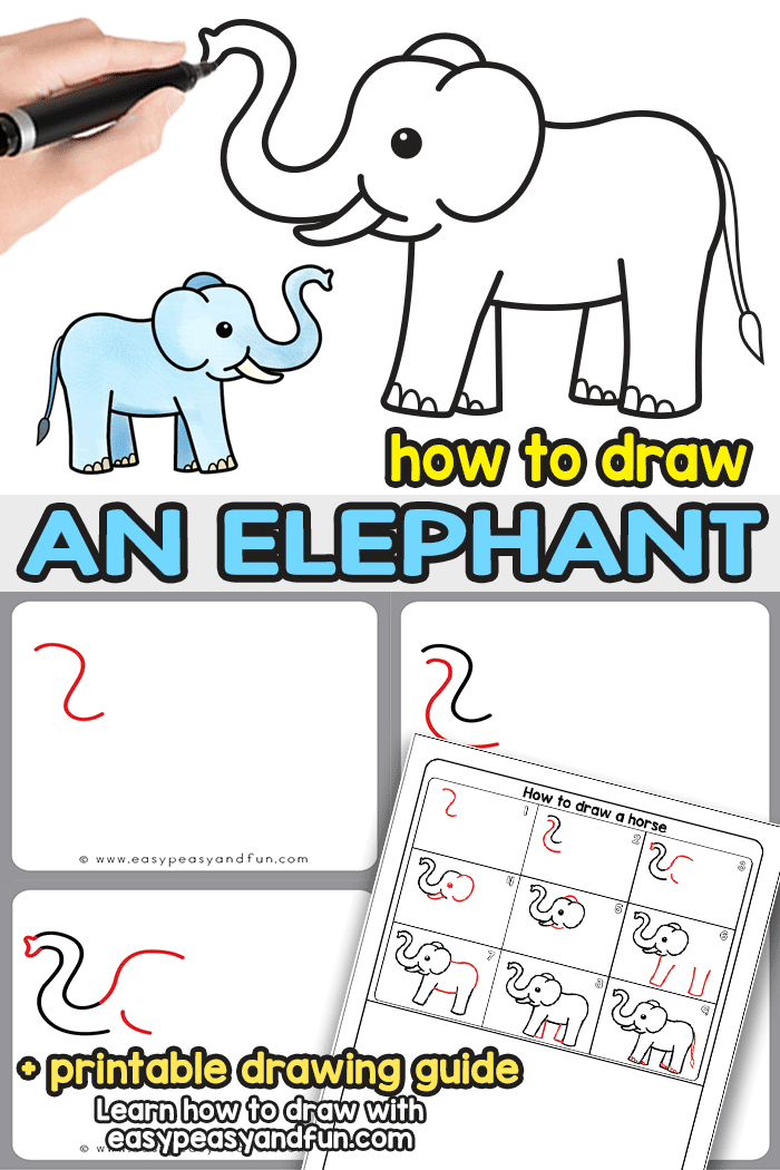 How To Draw An Elephant Step By Step Elephant Drawing Tutorial