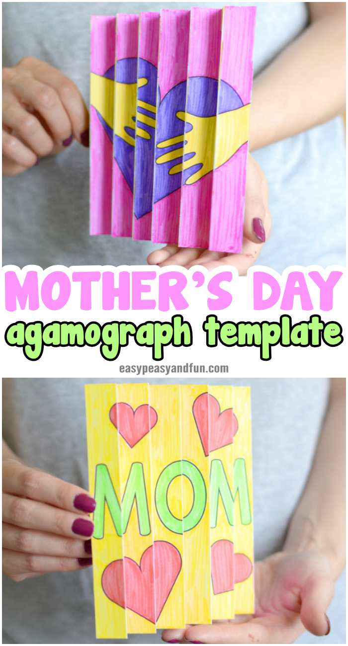 Mother's day agamograph template. Super fun Mother's day craft for kids to make.