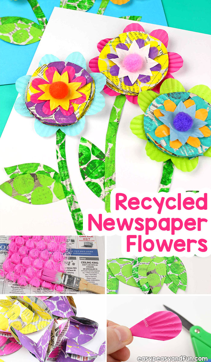 Newspaper Flowers Recycled Craft for Kids. Great craft to do with kids in the classroom.