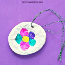 Fingerprint Flower Salt Dough Necklace Craft Idea for Mother's Day