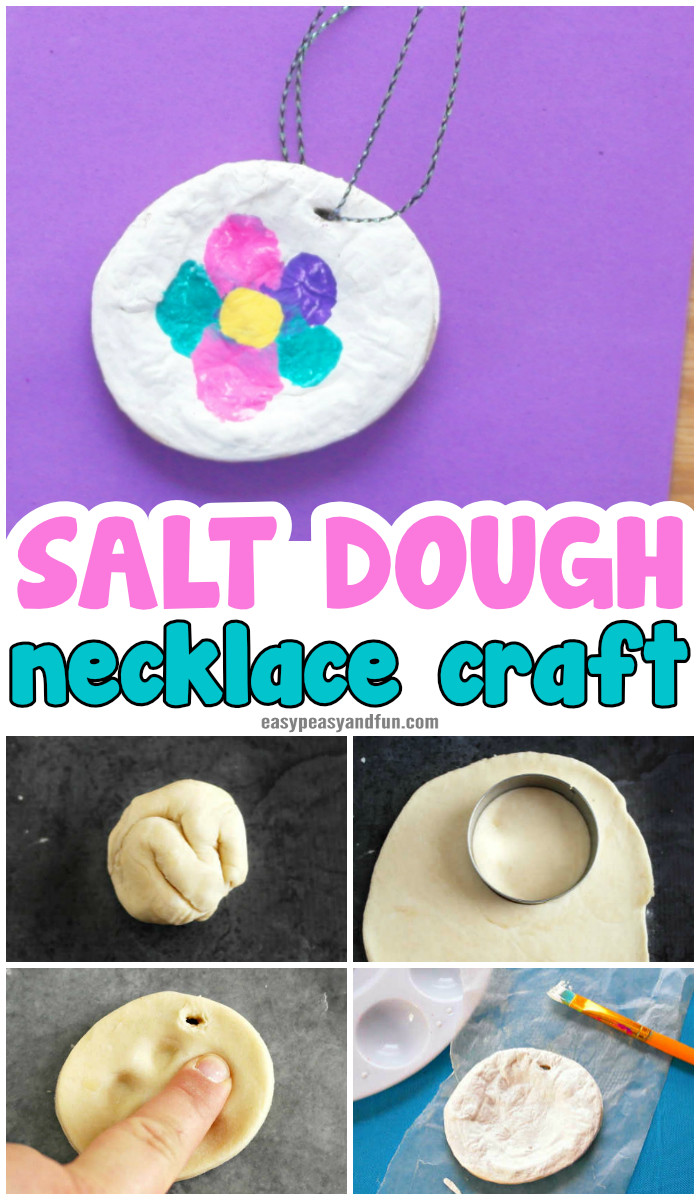 Salt Dough Necklace Craft Idea for Kids to Make for Mother's day