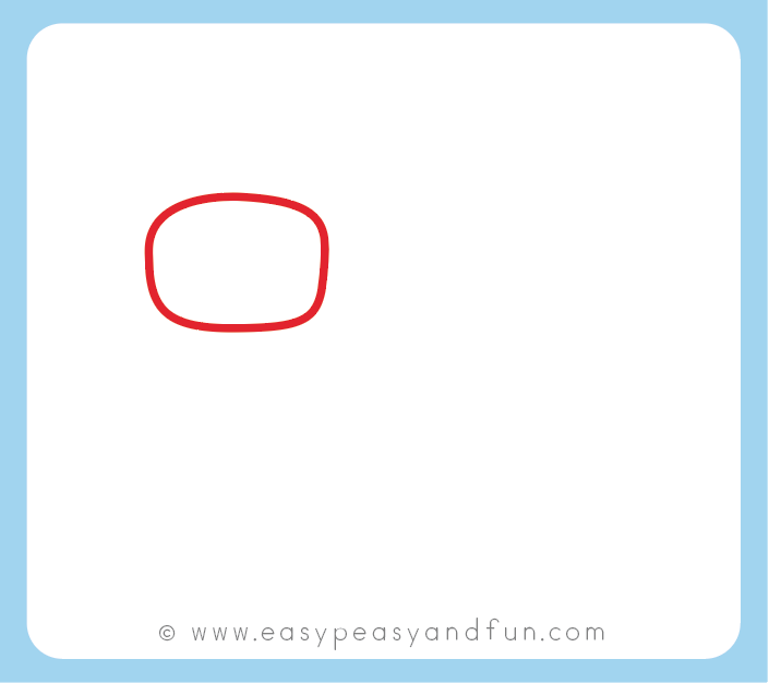Start by drawing an oval or a rounded rectangle