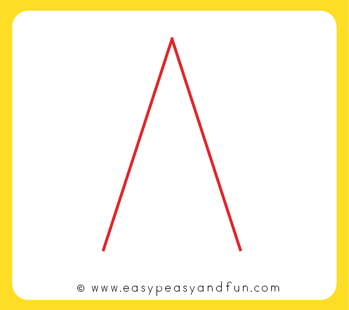 Start drawing a letter A - without the line in the middle