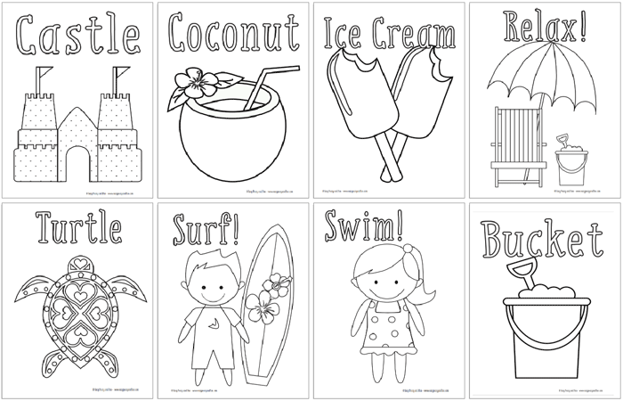 Summer Fun Coloring Sheets