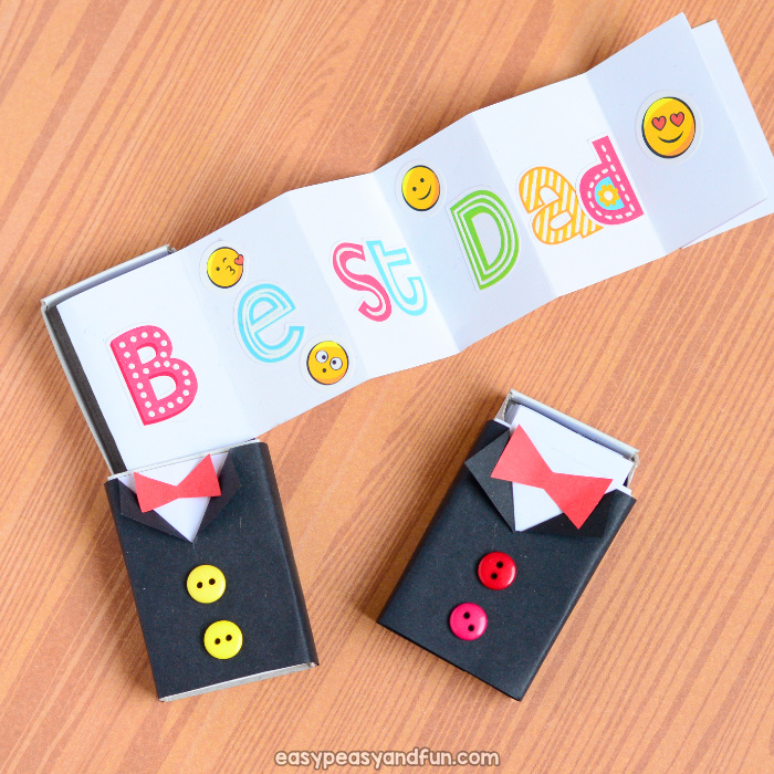 Tuxedo matchbox craft father 39 s day craft for kids easy for Blank matchboxes for crafts