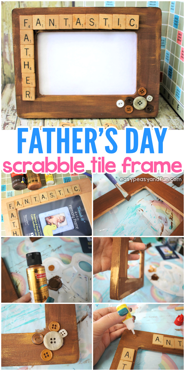 Make a DIY Father's day scrabble tile frame. Recycle old Scrabble tiles to make this DIY photo frame. Such a cool kid made father's day gift.
