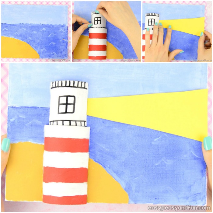 Canvas Lighthouse Art for Kids. Perfect summer art and craft idea for kids to make. Easy painting for beginners.
