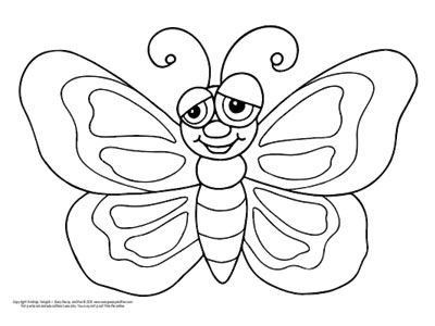 butterfly coloring pages  free printable  from cute to realistic  smiley butterfly coloring page for preschool and kindergarten