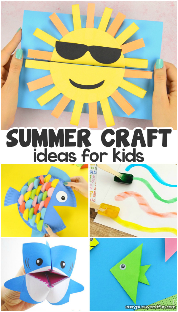 Summer crafts for kids. Lots of fun summer art and craft ideas for kids - from toddlers and preschoolers to kids in kindergarten and even older kids. Step by step tutorials for fun ideas, from paper toys, easy crafts, origami...