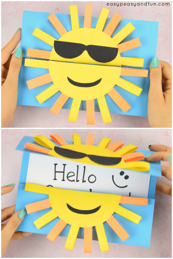 Sun DIY Paper Card Idea for Kids. This DIYcard is a perfect summer craft for kids, you can modify it and make it even easier for preschoolers to make while kids in kindergarten will love making the paper loops.