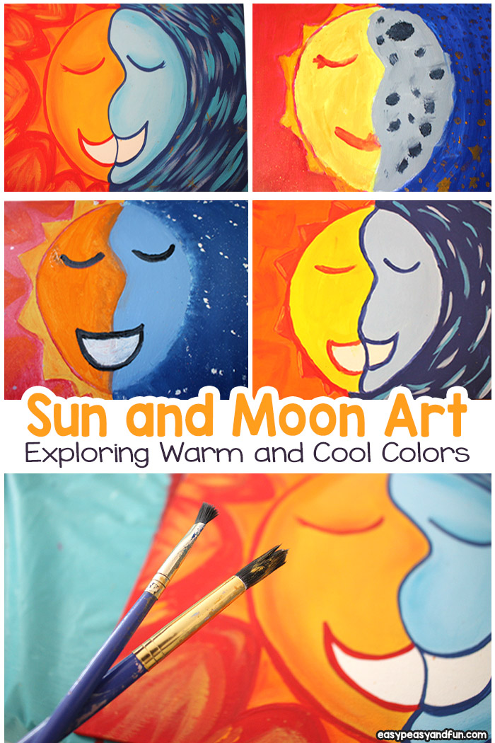 Sun and Moon Painting - Art Lesson With Warm and Cool Colors - This art project for kids is suitable for all age groups - you can teach it to young children in preschool, kindergarten, first grade and older kids too!